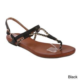 DBDK 'Meda-1' Women's Comfy Braid Ankle Strap Gladiator Sandals