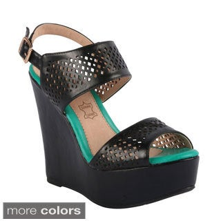 Kayleen 'Mikeca-8' Women's Ankle Strap Cut Out Wedge Platform Sandals