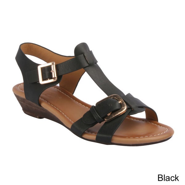 DBDK 'Remi-4' Women's Comfy Buckle Ankle Strap Wedge Sandals