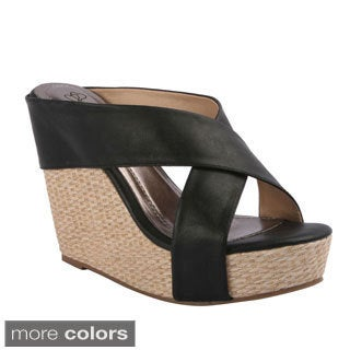 DBDK 'Sallie-4' Women's Espadrille Wedge Criss-cross Sandals