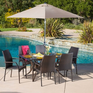 Christopher Knight Home Libson Rectangular Outdoor Cast and Wicker 7-piece Set