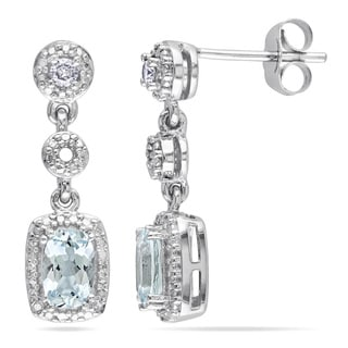 Miadora 10k White Gold Aquamarine and 1/10ct TDW Diamond Earrings (G-H, I1-I2)