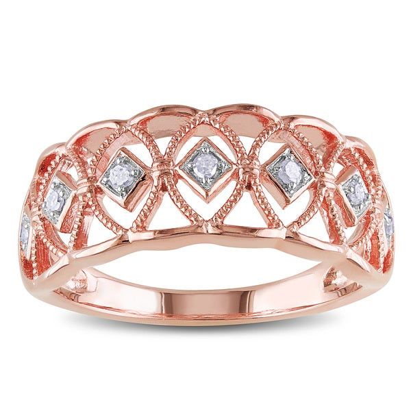Haylee Jewels Rose Plated Sterling Silver Diamond Band