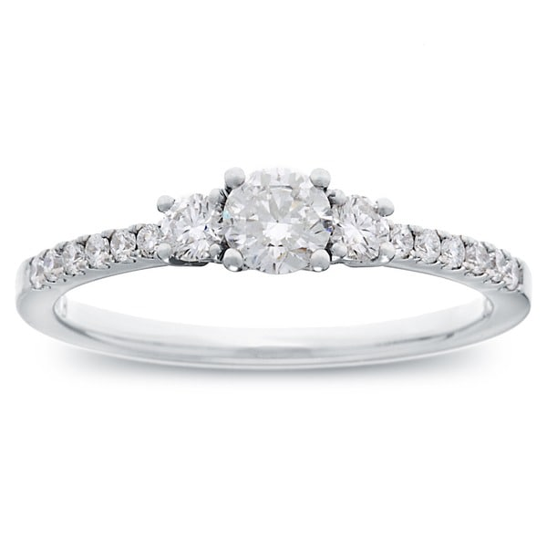 14k White Gold 3/5ct TDW Round Diamond 3-stone Engagement Ring (G-H, SI2-I1)