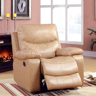 Furniture of America Barbalado Camel Bonded Leather Match Glider Recliner