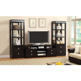 Furniture of America Tollany 3-piece Black Entertainment 66-inch TV Center with Mirrored Pier Towers