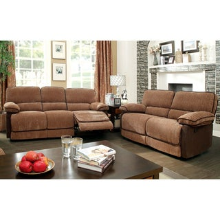 Furniture of America Hazel Mocha-Dark Brown 2-piece Chenille Fabric Reclining Sofa Set