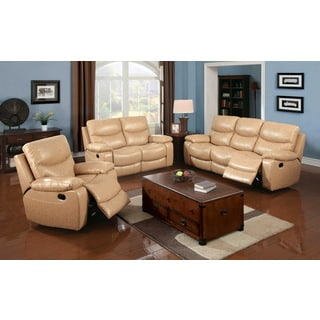 Furniture of America Avali Camel 3-piece Bonded Leather Match Reclining Sofa Set
