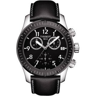 Tissot Men's T0394172605700 Black Leather Chronograph Watch