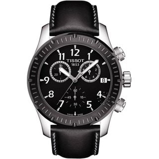 Tissot Men's Black Leather Chronograph Watch