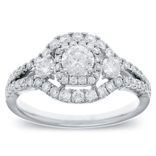 14k White Gold 1ct TDW Vintage-style Halo Diamond Ring (G-H, SI2-I1)