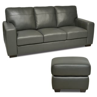 Grey Italian Leather Sofa and Ottoman Set