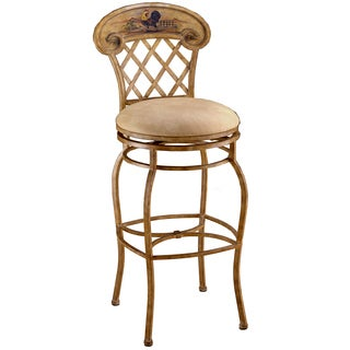 Rooster Country Beige Faux Seude Upholstered Swivel Stool