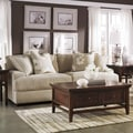 Signature Design by Ashley Kylee Contemporary Linen Sofa and Accent Pillows