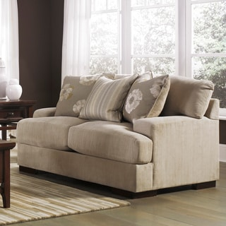 Signature Design by Ashley 'Pia' Contemporary Linen Loveseat and Accent Pillows
