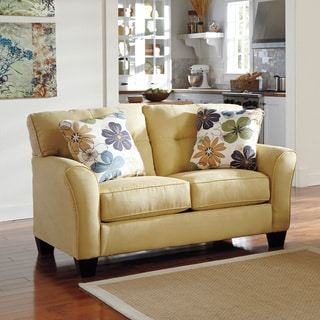 Signature Design by Ashley Kylee Goldenrod Contemporary Loveseat and Accent Pillows