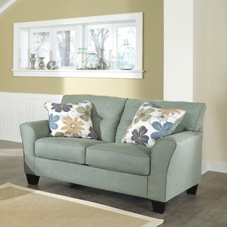 Signature Design by Ashley Kylee Lagoon Contemporary Loveseat and Accent Pillows
