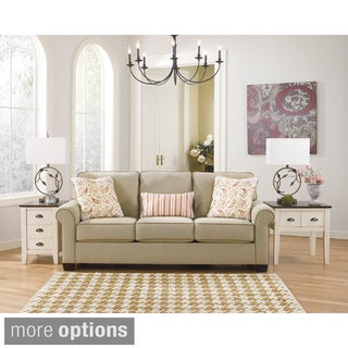 Signature Design by Ashley Lucretia Sand Vintage Casual Sofa and Accent Pillows