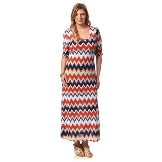 24/7 Comfort Apparel Women's Plus Size Chevron Print Elbow-sleeve Maxi Dress