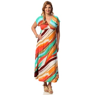 24/7 Comfort Apparel Women's Plus Size Abstract Print Flutter-sleeve Maxi Dress