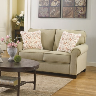 Signature Design by Ashley Lucretia Sand Vintage Casual Loveseat and Accent Pillows