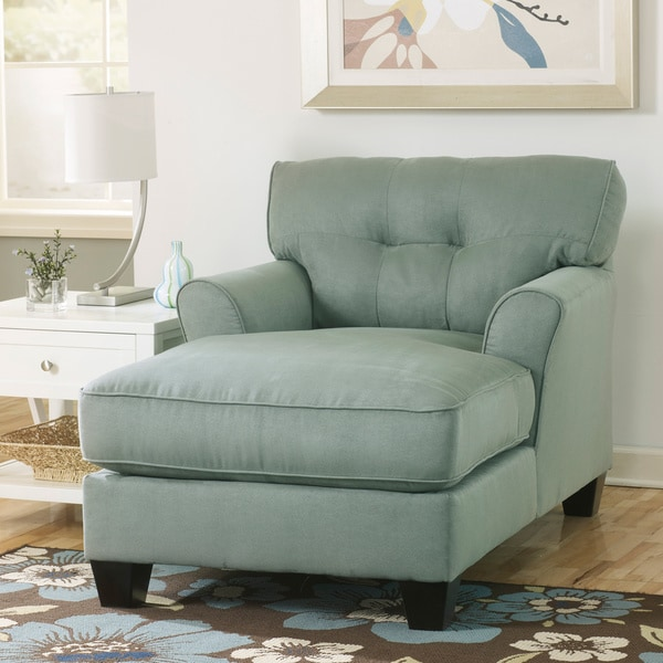 Signature design by ashley kylee lagoon blue fabric chaise for Ashley furniture chaise lounge