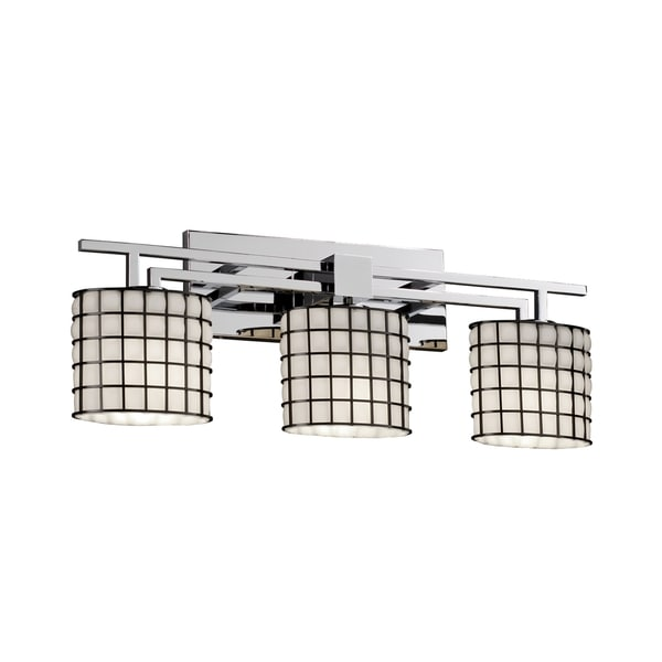Justice Design Group Wire Glass Aero 3-light Bath Bar