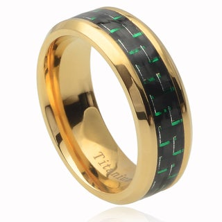 Vance Co. Men's Titanium Green Carbon Fiber Inlay Band (8 mm)