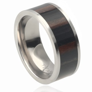 Vance Co. Men's Titanium Pipe Cut African Blackwood Inlay Band (9 mm)