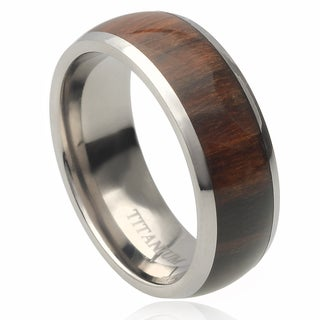 Vance Co. Men's Titanium Domed Santos Hawaiian Koa Rosewood Inlay Band (8 mm)