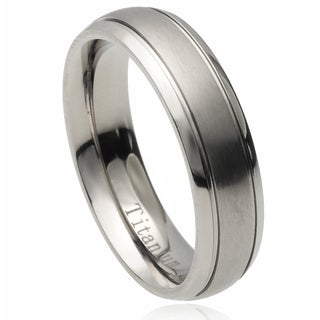 Vance Co. Men's Titanium Ridged Brushed Center Band (6 mm)
