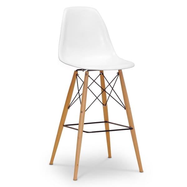 Baxton studio azzo white plastic mid century modern shell stool 16116750 - Witte plastic stoel ...