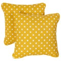 Yellow Dots Corded Indoor/ Outdoor Square Pillows (Set of 2)