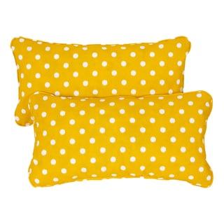 Yellow Dots Corded 12 x 24 Inch Indoor/ Outdoor Lumbar Pillows (Set of 2)