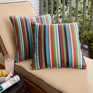 Multicolor Stripe Corded Indoor/ Outdoor Square Throw Pillows with Sunbrella Fabric (Set of 2)