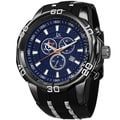Joshua & Sons Men's Oversized Bold Swiss Quartz Chronograph Date Silicone Strap Watch