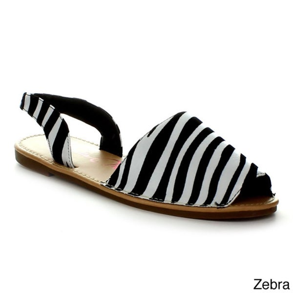Anna Jazz-2 Women's Comfort Peep Toe Slingback Casual Beach Summer Flat Sandals