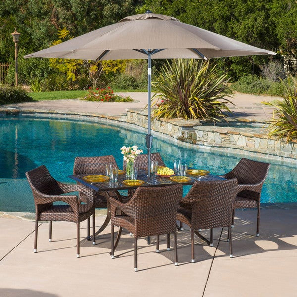 Cliff Rectangular Outdoor Cast and Wicker 7-piece Set by Christopher Knight Home -  294936