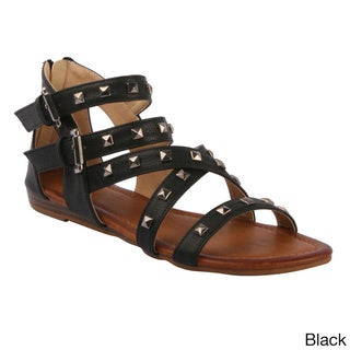 DBDK Women's 'Fusion-4' Pyramid-studded Strappy Flat Sandals