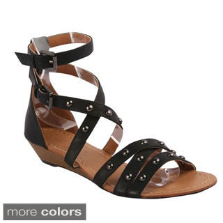 DBDK Women's Strappy Low Wedge Gladiator Sandals