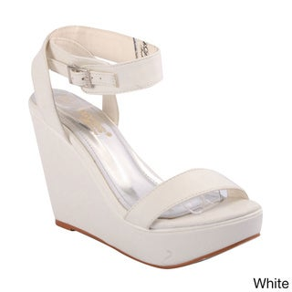 DBDK Women's 'Fulli-1' Open Toe Ankle Strap Wedge Sandals