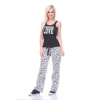 Stanzino Women's Black 2-piece 'Love' Loungewear Sleepwear Set