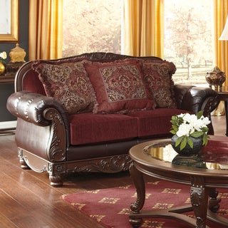 Signature Design by Ashley Weslynn Place Burgundy Loveseat with Accent Pillows