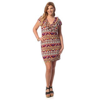24/7 Comfort Apparel Women's Plus Size Multi-print Ruffled Neck Casual Dress