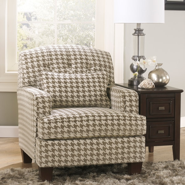 By ashley donella barley herb houndstooth print fabric accent chair