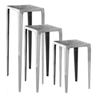 Tall Silvertone Aluminum Plant Stands (Set of 3)