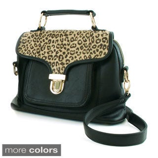 Adrienne Landau Cheetah Print Panel Front Pocket Satchel