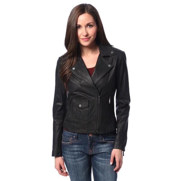 BCBG Maxazria Women's Black Leather Motorcycle Jacket - Overstock