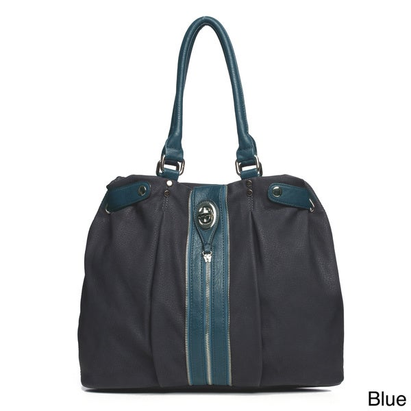 Fabric Zipper Trim Top-Handle Shoulder Bag