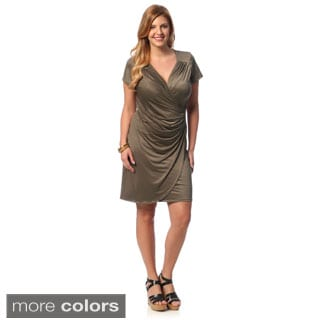 24/7 Comfort Apparel Women's Plus Size Faux Wrap Knee-length Dress